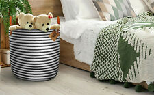 """Belvedere Home Extra Large Cotton Laundry Basket or Toy Bin Striped Rope- 17"""" H"""