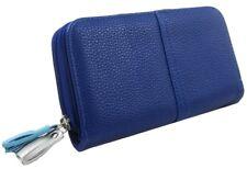 Purse Large Blue Faux Leather Clutch Wallet Tassel Tassels Ladies Girls Evening