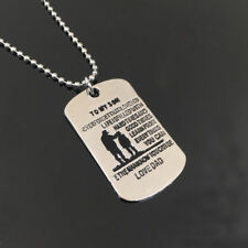 TO MY SON Dog Tag Necklace Military Family Gift Love Dad Father Silver Pendant