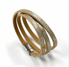 New Women Multilayer Leather Charm Cuff Wristband Plated Silver Bracelet Bangle