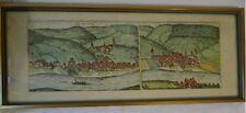 Colorierter Kupferstich Zell u.Berncastel-Kues (Cel im Ham und Berncastel) Nachd