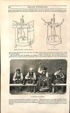 Cave Vin de Champagne Bouchon Machine à Boucher Système Maurice GRAVURE 1851