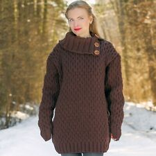 Brown wool sweater pullover with collar thick hand knit warm jumper SUPERTANYA