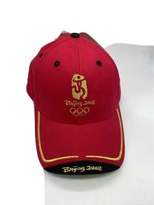 Beijing 2008 Olympics Adult Unisex Red Gold Embroidered Strap Adjustable Hat Cap