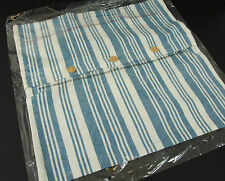 PACK OF 4 100% Cotton Cushion Cover Teal Multi-Band Stripes Wooden Buttons