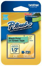 """NEW Brother M731 P-Touch Label Tape 1/2"""" Black on Green (12mm) Ptouch M-731"""
