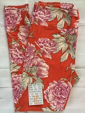 Nwt Lularoe TC Tall Curvy Leggings Orange/red With Floral Print