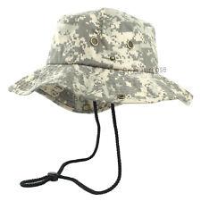Mens Boonie Bucket Wide Brim Hat Digital Desert Camo Cotton Safari Cap Military