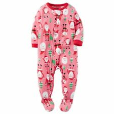 Carters NWT 24 Months Santa Pink Tree Christmas Footed Fleece Pajama Girls