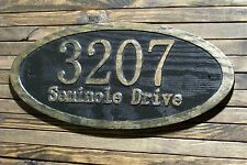 Oval Address Sign Antique Brass Finished Wood Custom Carved Plaque
