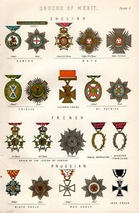 1880 PRINT ENGLISH ORDERS of MERIT VC FRENCH & PRUSSIAN