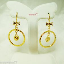 Heart 22K 23K 24K Thai Baht YELLOW GOLD GP EARRINGS Hoop E India Jewelry