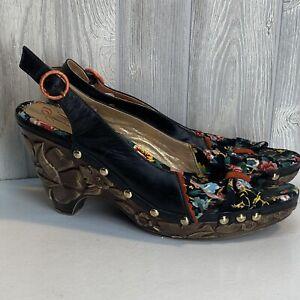 boho Faux carved platform Floral Pin Up Platform heel Peep Toe 10