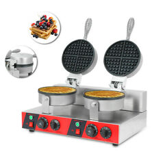 More details for commercial electric double waffle maker non-stick waffle bake maker dual rotary