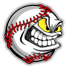 Baseball Face Cartoon Ball Car Bumper Sticker Decal 5'' x 5''