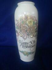 "50th Wedding Anniversary 8"" Flower Vase w/ flowers & bells Ehw Enterprises 1991"