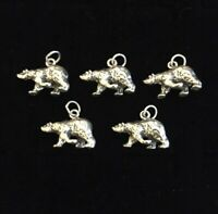 Vintage Sterling Silver Grizzly Bear Charms Lot Of 5 Pendants Brown Black Bear