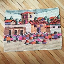 "Wool Woven Tapestry Wall Hanging Peru Village Scene 36 X 30"" Colorful Handwoven"