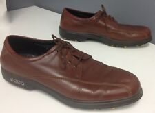 ECCO Brown Leather Lace Up Rubber Sole Athletic Sneaker Gold Cleats Sz 46 B4671