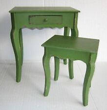 New Industrial Rustic Shabby Chic Green Cafe Home Retro Bedside Nesting Tables