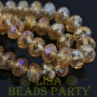 Hot 30pcs 8X6mm Rondelle Faceted Loose Spacer Glass Beads Bulk Champagne AB