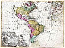 MAP ANTIQUE HOMANN HEIRS SOUTH NORTH AMERICA ART POSTER PRINT LV2109