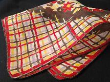 #5584🌟Vintage 30s Floral Geometric Red Yellow Smoky Gray Plaid Handkerchief