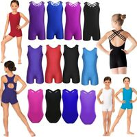 Kids Girls Sleeveless One-piece Ballet Dance Gymnastics Workout Leotard Bodysuit