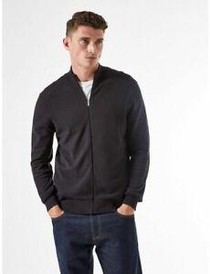 BURTON MENSWEAR LONDON Mens Black Zip Through Jumper Organic Cotton Sweater