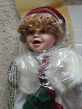 """New Porcelain Doll 17"""" with Sled and Snowman, Ice Skating Doll, Nib, Holidays"""