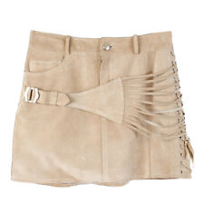 38569 auth CHRISTIAN DIOR beige suede leather Mini Skirt 34 XXS