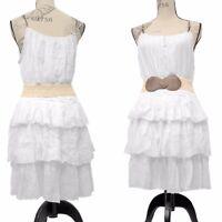 Womens  Sleeveless Layered Dress with Waist Belt Knee Length Size 14-20