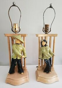 MCM Pair Chalkware Chinese Asian Figure Lamps Bamboo Tested Working 1950s