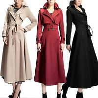 Mac Pleated Womens Winter Pocket Ladies Long Trench Coat Belted Jacket Size