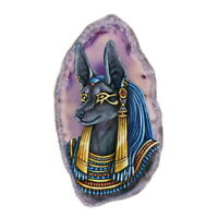 Color Printing Anubis Agate Gemstone Pendant Necklace Y1901 0094