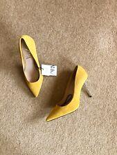 Zara Yellow Suede Leather High Heel Shoes With Metalic Heels UK4 EU37 US6.5 #216