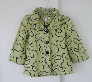 green ANDRIA LIEU jacket blazer cardigan ruffle 3/4 sleeve knit modern S SMALL