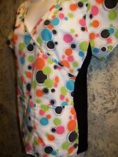 GEM colorful polka dots knit sides pullover scrub top nurse medical uniform XS S