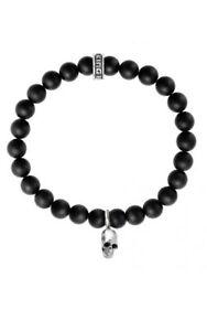 King Baby Studio 8mm Onyx Bead Bracelet Skull Sterling Silver K40-5146
