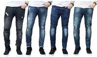 Mens Ripped Slim fit Skinny Jeans Stretch Denim Distress Frayed Biker Jeans Boys
