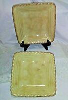 "Set of 2 Artimino Stoneware Square Plates Tuscan Countryside Cream - ""rope"" edge"