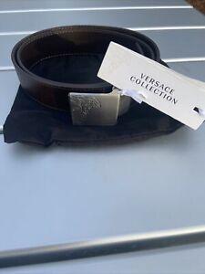 Versace  Mens Belt Brown  Leather  Bnwt  Sz 34 Acc417