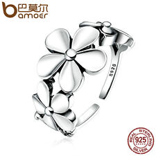 Bamoer S925 Sterling Silver open Ring With Retro Fresh flowers For Women Jewelry