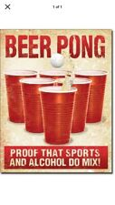 "TIN SIGN ""Beer pong"" Sports College Humor Comedy Beer Mancave Rustic Decor Bar G"