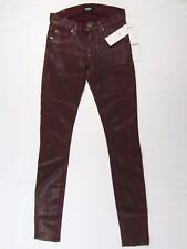 RARE $295 Hudson Red Crimson Coated Moto Mid-Rise Super Skinny Jeans Size 23 NWT