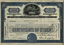 St. Louis San Francisco Railway Stock Certificate Railroad Frisco Blue Missouri