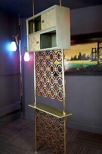 Mid Century Modern Stiffel Style Tension Pole Room Divider Avocado & Gold Tone
