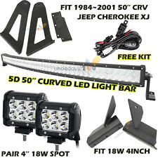 "50"" 960W LED Light Bar + 4"" 18W CREE+ Mount Bracket For Jeep Cherokee XJ 84-2001"