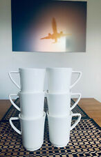 Porzellan Becher Tasse weiß 6 Stück. NEU Porzellan 140ml elegant TOP Henkel Pott