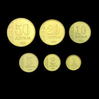 [T-3] Tajikistan Set 6 Coins, 1+2+5+10+20+50 Diram, 2011, UNC